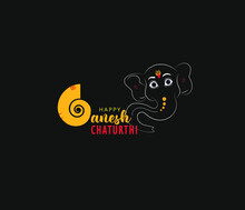 "Creative Hand Lettering Text ""Ganesh Chaturthi"" With God Ganesha Illustration On Dark Background For Happy Ganesh Chaturthi."