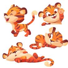 Cute Baby Tiger Character Sleep And Peep