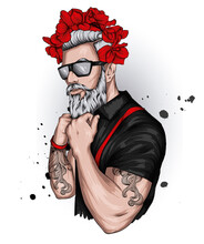 Handsome Guy In Stylish Clothes And A Floral Wreath. Fashion And Style, Hipster And Tattoo.