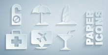Set Speech Bubble With Airplane, Surfboard, First Aid Kit, Martini Glass, Sun Protective Umbrella For Beach And Please Do Not Disturb Icon. Vector