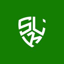SLK Letter Logo Design On Green Background. SLK Creative Initials Letter Logo Concept. SLK Letter Design.