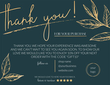 Vector Illustration Of A Thank You Card For Business. Elegant Card For Decorating Handmade Products