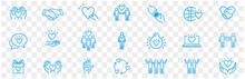 Friendship Partnership Handshake And Love Line Icons.