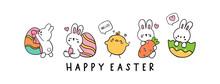 Happy Easter Banner, Vector Illustration.