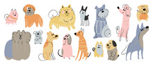Cute Dogs Doodle Vector Set. Cartoon Dog Or Puppy Characters Design Collection With Flat Color In Different Poses. Set Of Funny Pet Animals Isolated On White Background.