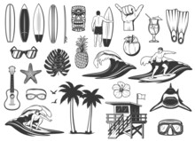 Surfing Board, Ocean Wave And Beach Vacation Icons. Surfer Riding Board, Sunglasses And Pineapple, Cocoa Cocktail, Shark, Scuba Diving Mask And Goggles, Hibiscus Flower, Lifeguard Tower And Flippers