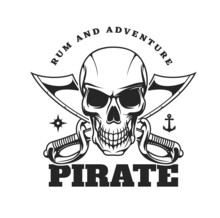 Pirate Skull And Crossed Sabres Icon. Creepy Human Skull With Clenched Scary Teeth, Crossed Cutlass Short Broad Sabre Or Slashing Swords, Anchor And Wind Rose. Filibuster Or Privateer Vector Emblem
