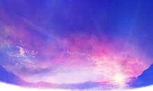 コピースペースのある朝焼けの雲海の風景イラスト