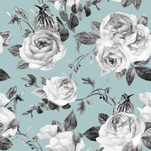 Black And White Watercolor Seamless Pattern With Roses And Hummingbirds On A Turquoise Background For Textiles And Packaging, As Well As Surface Design And Stationery