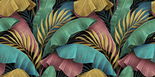 Tropical Luxury Exotic Seamless Pattern, Pastel Colorful Banana Leaves, Palm. Hand-drawn Vintage 3D Illustration. Dark Glamorous Bright Background Design. For Wallpapers, Cloth, Fabric Printing, Goods