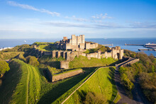 Dover, England, United Kingdom - May 10, 2021: Aerial View To Dover Castle.
