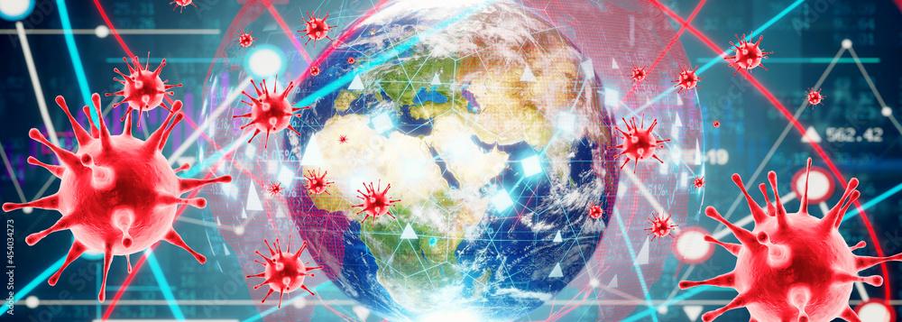 Corona virus crisis around the world. 3d illustration - obrazy, fototapety, plakaty