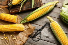 Fresh Corn Cobs And Scissors On Wooden Background