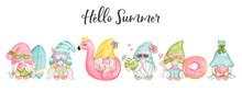 Digital Painting Watercolor Hello Summer Gnomes, Happy Summer Greetings Card. Beach Gnome