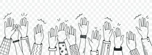 Vector Hand Drawn  Illustration  Human Hands  Waving Isolated On White Background. Crowd, Party