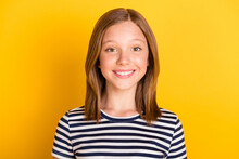 Portrait Of Charming Young Girl Beaming Smile Look Camera Isolated On Bright Yellow Color Background