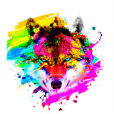 Wolf head with creative abstract colorful spots elements on white background