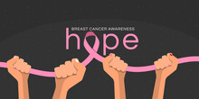 Breast Cancer Awareness Month Banner With Hands Hold Pink Ribbon And Hope Text On Dark Background Vector Design