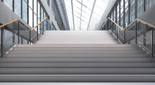 3D Render Of A Stairs Leading Up Into A Large Aisle Of An Office Building. 3d Illustration