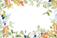Watercolor Frame. Hand-drawn Oak Leaves And Berries On A Light Background. Suitable For Backgrounds, Cards, Posters, Invitations