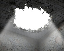 A Hole In A Ceiling Broken On Pieces And Metal Carcass Parts, Illuminated By The Light From Outside, 3d Illustration