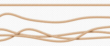 Realistic Vector Fiber Ropes Set Isolated On Transparent Background.