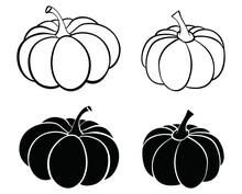 Pumpkin Of Various Shapes With Black And White. Thanksgiving And Halloween Elements.vector Illustration.
