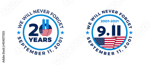 Fotografia September 11, 2001 - 911 20 Years Patriot Day badges with USA flag - circle shap