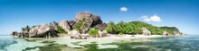 Panoramic View Of La Digue In The Seychelles