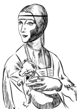 Lady With An Ermine, Graphic Black And White Work
