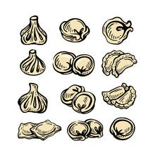 Set Of Different Dumplings.