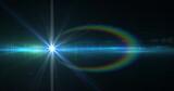 Spot of light and lens flare against black background