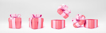 3d Red Gift Boxes Open And Closed Standing On The Floor With Pink Pastel Ribbon Bow Isolated On A Light Background. 3d Render Modern Holiday Surprise Box. Realistic Vector Icons.