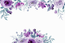 Spring Purple Floral Background With Watercolor