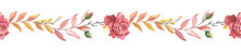 Autumn Border With Red Roses And Leaves. Watercolor Illustration. Watercolour Floral Decoration.