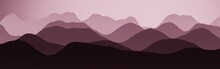 Nice Red Wide Angle Of Mountains In Haze Cg Background Or Texture Illustration