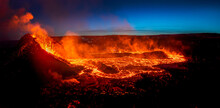 Looking At The Lavaflow From The Erupting Volcanic Crater Of Geldingadalagos Eruption In Reykjanes Peninsula, Iceland.