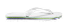 Single Flip Flop Isolated On White. Beach Footwear