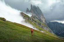 Unrecognizable Traveler Standing On Slope In Highlands