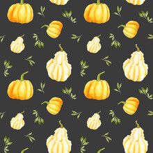 Watercolor Autumn Pumpkin Seamless Pattern On A Dark Background. Orange Round Gourd With Leaves And Warty Pear Gourd. Design For Menus And Prints. Cucurbita Pepo
