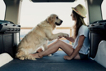 Female Owner Holding Paw Of Dog In Camper