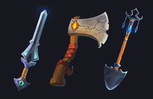 A Set Of Icons On A Dark Background. Isolates For A Casual Fantasy Game.  Game Tools. An Axe, A Sword, A Shovel. Attributes, Props, Items For A Necromancer. Dark Magic, Cemetery.