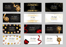 Gift Voucher Template Isolated.Vector Gift Card With Gold Ribbon And Bow.Gift Certificate With Realistic Surprise Gift Boxes, Love Shape Decor. Discount Gift Card.Coupon Promotion Sale Collection.