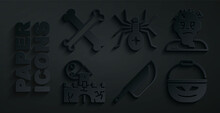 Set Knife, Zombie Mask, Castle, Fortress, Pumpkin Basket Sweets, Spider And Crossed Bones Icon. Vector