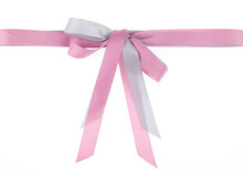 Festive Pink Bow Isolated On Black Background