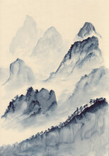 Watercolor Painting Of Blue Asian Mountains. Hand Drawn Oriental Peaceful Landscape With Layers Of Rocks. Concept For Decoration, Relaxation, Serene Meditation Background. Vertical Artwork On Paper.