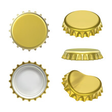 Metal Golden Crown Caps. Beer, Lemonade And Other Drink Bottle Cap. Realistic Vector Illustration Isolated On White Background