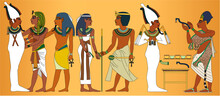 Detail Of A Wall Of The Interior Of The Tomb Of Tutankhamun, Vector Illustration