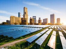 Eco-environmentally Friendly Green Energy Of Sustainable Development Of Solar Power Plant With Nanchang Skyline