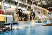 Powerful Turbine In The Steam Turbine Hall